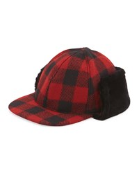 Ugg Mclain Buffalo Plaid Trapper Hat W Shearling Black Red