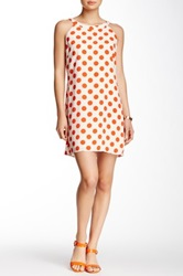 Pink Owl Polka Print Dress Orange