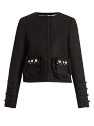N 21 Embellished Pocket Wool Blend Jacket Black