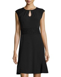 Nanette Nanette Lepore Lace Trim Cap Sleeve Fit And Flare Dress Very Black
