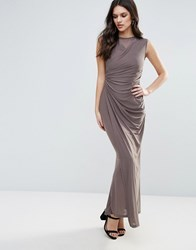 Ax Paris Slinky Maxi Dress With Ruched Detail Grey