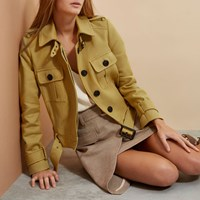 River Island Womens Yellow Ri Studio Cropped Trench Jacket