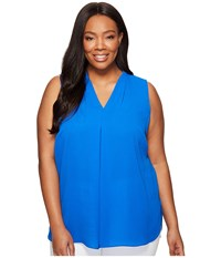 Vince Camuto Specialty Size Plus Sleeveless V Neck Blouse With Inverted Front Pleat Cobalt Blue Women's Blouse