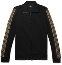 Fendi Slim Fit Webbing Trimmed Cotton Blend Track Jacket Black