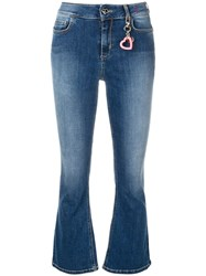 Twin Set Cropped Flared Jeans Blue