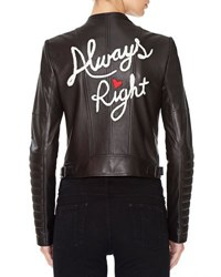 Alice Olivia Gamma Always Right Embroidered Leather Biker Jacket Black