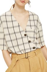 Topshop Ashley Check Asymmetrical Top Ivory Multi