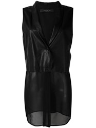 Federica Tosi Sleeveless Contrast Blazer Women Calf Leather Polyester Cupro S Black