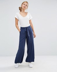 Warehouse Tie Waist Wide Leg Trouser Navy