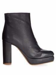 See By Chloe Liza Leather Platform Ankle Boots Navy