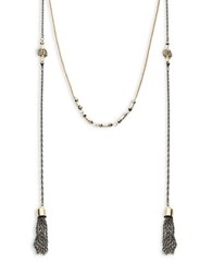 Design Lab Lord And Taylor Tiered Tassel Accented Necklace Mixed Metal