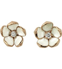 Shaun Leane Cherry Blossom Rose Gold Vermeil Ivory Enamel And Diamond Stud Earrings Large