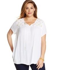 Charter Club Plus Size Short Sleeve Embellished Peasant Top