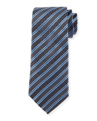 Striped Silk Tie Black Davidoff