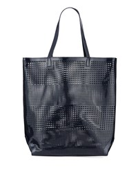 Neiman Marcus Perforated Tote Beach Bag Navy