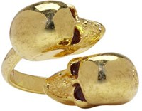 Alexander Mcqueen Gold Twin Skull Ring