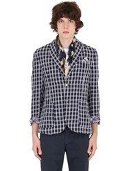 Bob Strollers Plaid Brushed Linen And Cotton Blazer