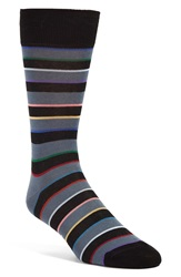 Paul Smith 'Rainbow Block' Stripe Socks Black