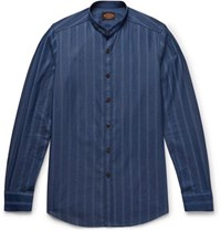 Tod's Grandad Collar Striped Cotton Chambray Shirt Storm Blue