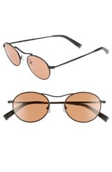 Kendall Kylie Tasha 49Mm Oval Sunglasses Black Metal Amber Solid Black Metal Amber Solid
