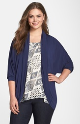 Tart Jersey Open Front Wrap Plus Size Peacoat