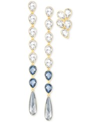 Swarovski Gold Tone 3 Pc. Set Blue And Clear Crystal Drop Earrings