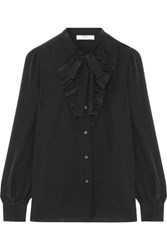 Prada Pussy Bow Ruffle Trimmed Silk Crepe De Chine Blouse Black