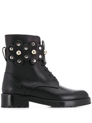 Red Valentino V Flower Puzzle Boots Black
