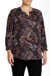 Daniel Rainn Split Neck Blouse Plus Size Black