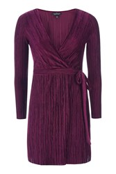 Topshop Petite Velvet Plisse Wrap Dress Wine