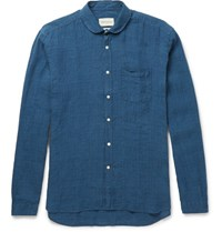 Oliver Spencer Penny Collar Checked Linen Shirt Navy