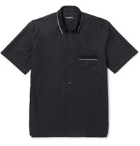 Dolce And Gabbana Contrast Tipped Cotton Silk Blend Shirt Black
