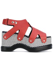 Proenza Schouler Patterned Platform Sole Sandals Women Calf Leather Leather Rubber 38 Red