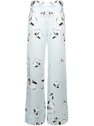 Genny Floral Print Trousers Blue