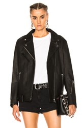 Alexander Wang T By Oversized Leather Moto Jacket In Black