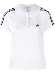Adidas Originals Striped Shoulders Polo Shirt Women Polyester 44 White