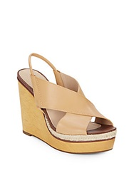 Diane Von Furstenberg Gladys Leather Wedge Sandals Natural