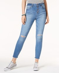 Tinseltown Juniors' Ripped Button Fly Skinny Jeans Medium Wash