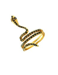 Louise Et Cie Crystallized Goldtone Snake Pinky Ring