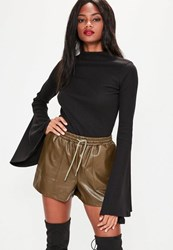 Missguided Black Flared Sleeve Top