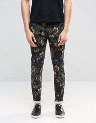Asos Skinny Trousers In Dark Floral Print Black