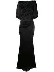 Talbot Runhof Draped Fitted Evening Gown Women Polyester Triacetate Viscose 44 Black