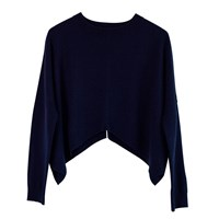 Ille De Coco Merino Cropped Sweater Navy And Light Grey Blue