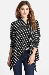 Bobeau Women's One Button Fleece Wrap Cardigan Black Ivory Stripe