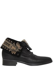 Etro 20Mm Embroidered Leather Fold Down Boots