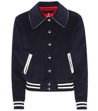 Alexachung Cotton Varsity Jacket Blue