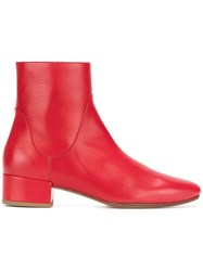 Francesco Russo Low Heel Boots Leather Sheep Skin Shearling Red