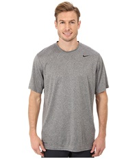 Nike Legend Dri Fit Poly S S Crew Top Carbon Heather Men's Short Sleeve Pullover Gray
