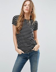Asos Stripe Crew Neck T Shirt Black White Multi