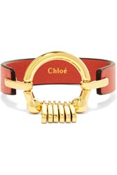 Chloe Gold Tone Leather Bracelet Red
